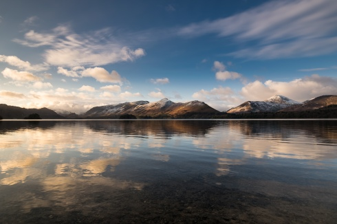 Catbells and Causey Pike through my wideangle lens to catch the mirror like reflections